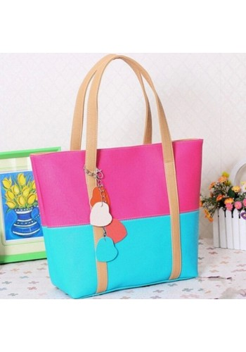 Casual Two Tone Tote Bag- Pink