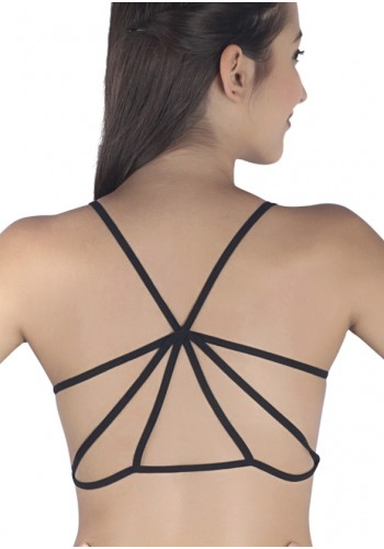 Caged Back Padded Designer Bralette- Black