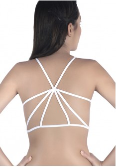 Caged Back Padded Designer Bralette - White