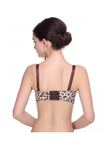 Ultra Soft Seamless Wide Wings Push Up Bra- Leopard Print