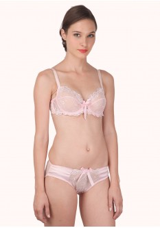 Lace Temptation Underwire Non-Padded Bra Set- Pink