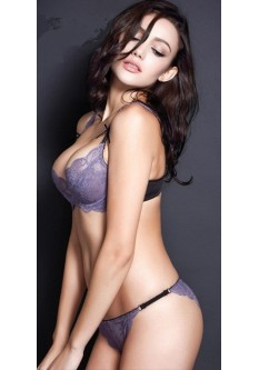Soft Lace Temptation Underwired Non-Padded Bra Set-Purple
