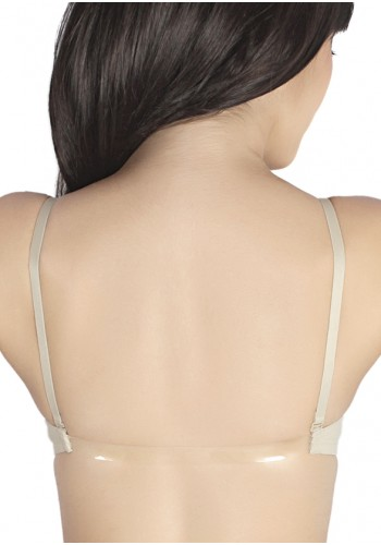 Transparent Back Front Closure Level 2 Push Up Bra-Beige