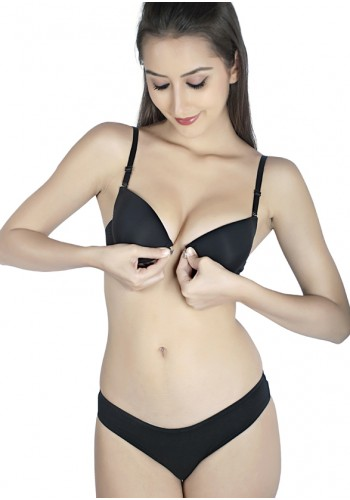 Transparent Back Front Closure Level 2 Push Up Bra-Black