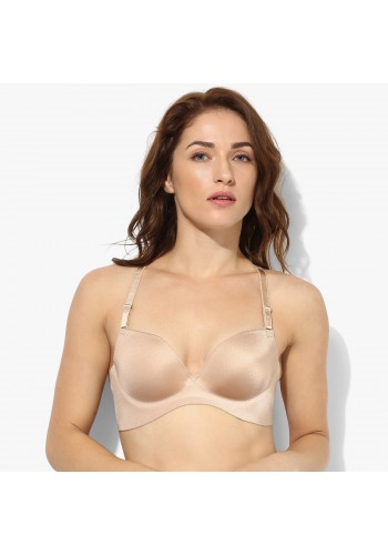 Ultra Soft Seamless Lacy Back Push Up Contour Bra- Beige