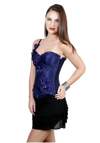 Classic Satin Floral One Shoulder Corset- Blue