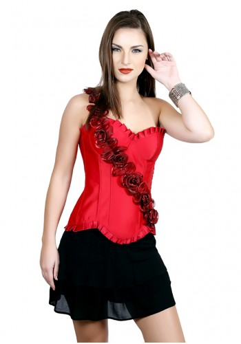 Classic Satin Floral One Shoulder Corset- Red