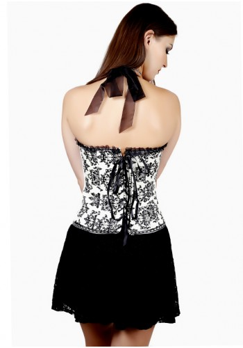 Deep V Halter Neck Corset - Black