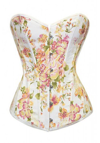 Floral Print Overbust Corset- White