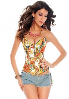Summer Style Print Overbust Corset - Yellow