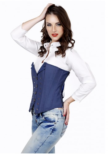Trendy Jeans Style Corset - Blue