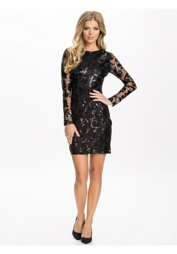 Brocade Sequin Bodycon Dress- Black