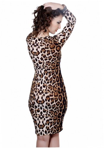 Extreme Soft Long Sleeves Dress- Animal Print