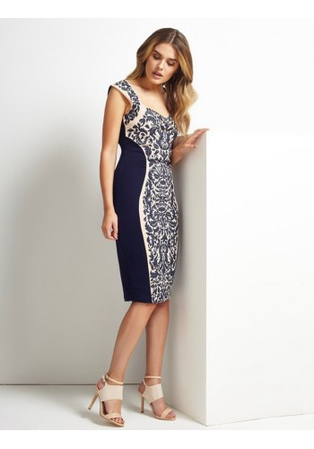 Floral Print Embellished Bodycon Dress- Blue