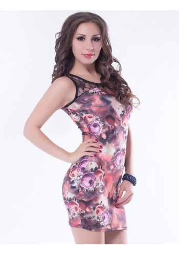 Highly Soft Floral Print Bodycon Dress- Purple