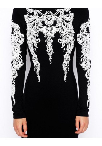 Long Sleeve Embellished Bodycon Dress- Black