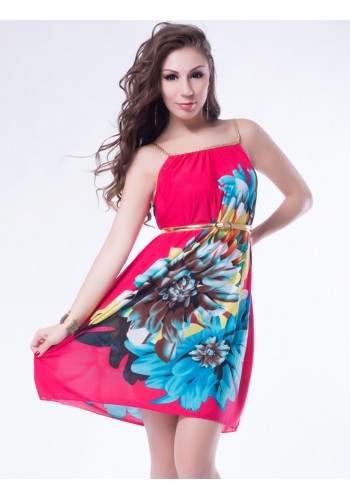 Multi Flowers Dress With Belt- Pink