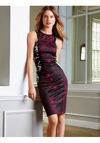 Printed Bodycon Party Dress- Purple