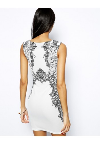 Printed Bodycon Day Dress- White