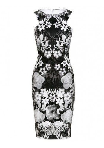 Spring Mid Length Printed Bodycon Dress- Black