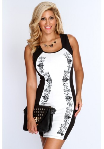Two Tone Print Dress- White
