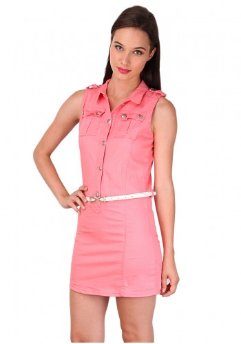 Denim Slim Fit Day Dress- Pink