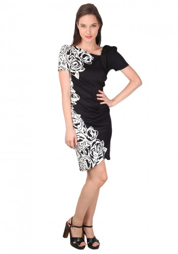 Half Floral Print Slim Party Dress- Black