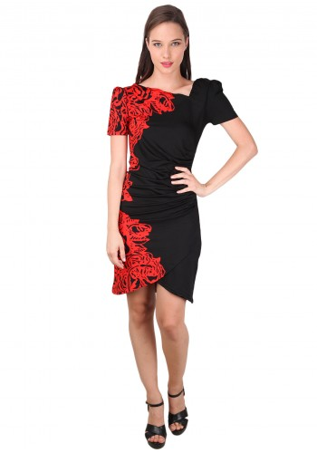 Half Floral Print Slim Party Dress- Red