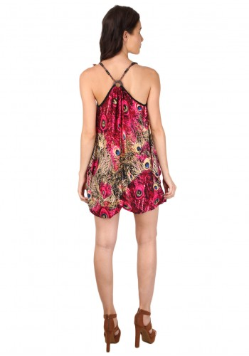 Peacock Print Bohemia Strap Dress- Red
