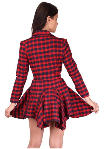 Retro Style Checks Print Dress- Red