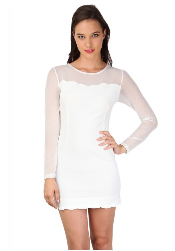 Slim Fit Illusion Neck Party Dress - White