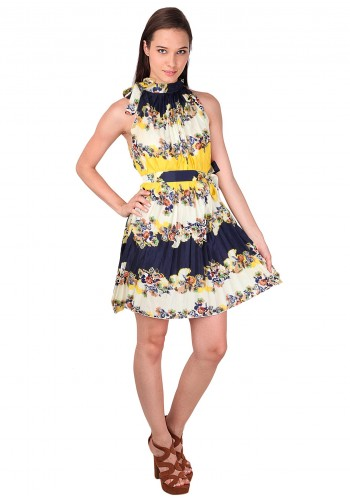 Summer Style Close Neck Bow Style Dress - Yellow
