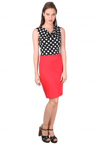 Turtle Neck Polka Dress- Red