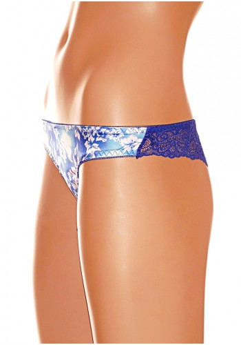 Back Laced Silk Cheeky - Blue