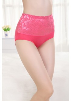 Bamboo Fiber Leisure High Waist Brief- Melon Red