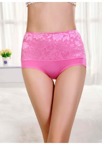 Bamboo Fiber Leisure High Waist Brief- Pink