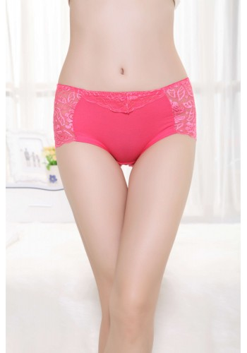 Delicate Floral Lace Mid Waist Hipster Panty- Melon Red