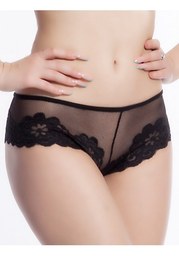Embroidered Lace Low Waist Cheeky- Black