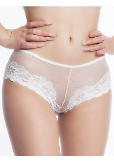 Embroidered Lace Low Waist Cheeky- White