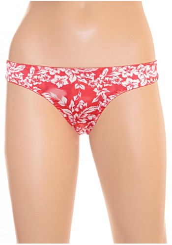 Floral Print  Silk Thong- Red