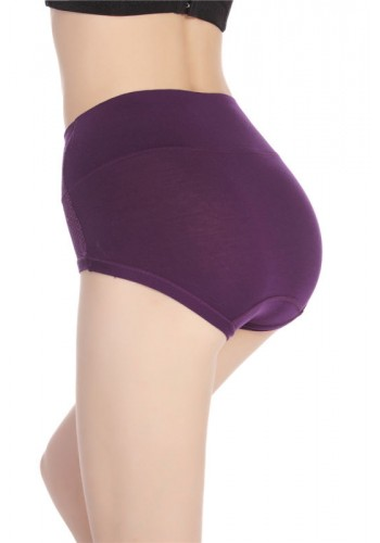 Luxury Embroidered Extra Soft High Waist Brief- Purple