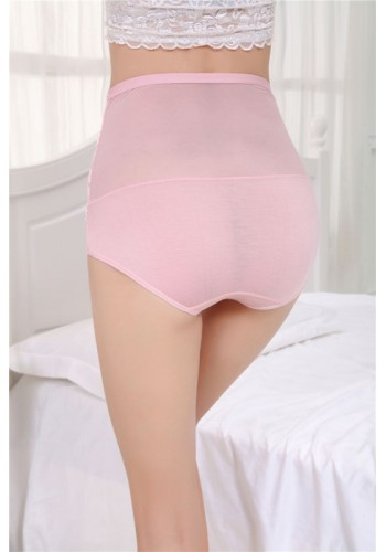 Mesh Lace Super Soft High Waist Brief- Pink