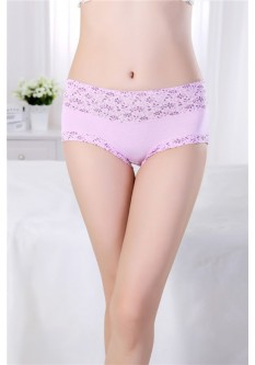 Pastel Floral Print Cotton Brief- Pink