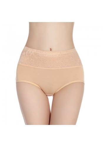 Self Embroidered Ultra Soft High Waist Brief- Beige