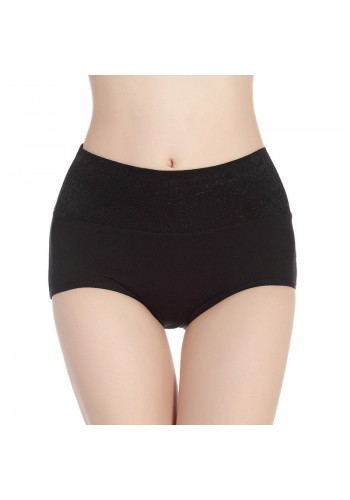 Self Embroidered Ultra Soft High Waist Brief- Black