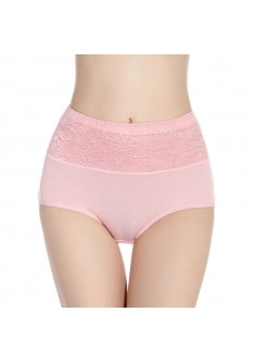 Self Embroidered Ultra Soft High Waist Brief- Pink