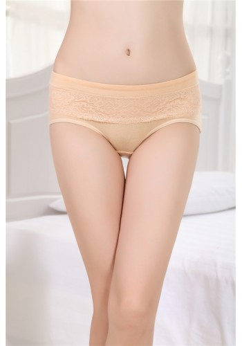 Self Print Low Rise Cotton Panty- Beige