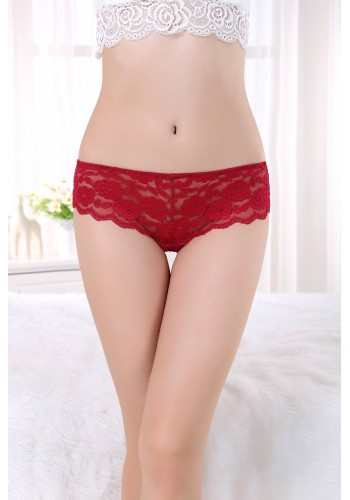 Sheer Lace Low Rise Cheeky Panty- Wine Red