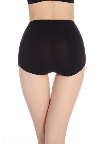 Super Comfortable Cotton High Waist Brief- Black