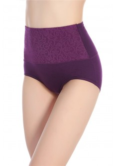 Super Comfortable Cotton High Waist Brief- Purple